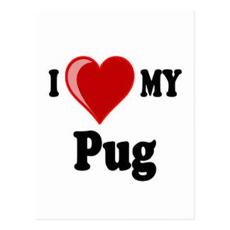 I Love (Heart) My Pug Dog Postcard