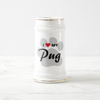 I Love (Heart) My Pug Pawprint Beer Stein