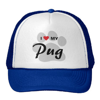 I Love (Heart) My Pug Pawprint Trucker Hat