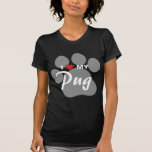 I Love (Heart) My Pug Pawprint T-Shirt