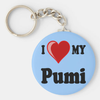 I Love (Heart) My Pumi Dog Keychain