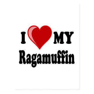 I Love (Heart) My Ragamuffin Cat Postcard