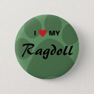 I Love (Heart) My Ragdoll Cat Pawprint Button