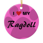 I Love (Heart) My Ragdoll Cat Pawprint Ceramic Ornament