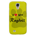 I Love (Heart) My Ragdoll Cat Pawprint Galaxy S4 Case