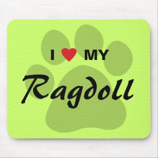 I Love Heart My Ragdoll Cat Pawprint Mousepad
