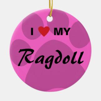 I Love (Heart) My Ragdoll Cat Pawprint Christmas Ornaments