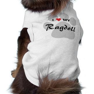 I Love (Heart) My Ragdoll Cat Pawprint T-Shirt