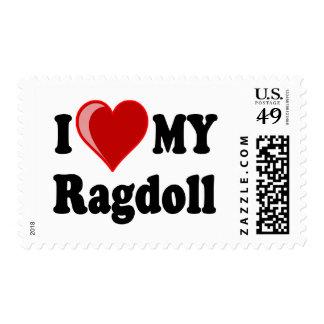 I Love (Heart) My Ragdoll Cat Postage