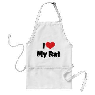 I Love Heart My Rat Adult Apron