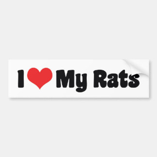 I Love Heart My Rats - Pet Rat Lover Bumper Sticker