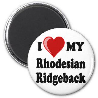 I Love (Heart) My Rhodesian Ridgeback Dog 2 Inch Round Magnet
