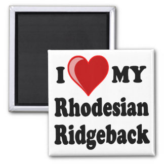 I Love (Heart) My Rhodesian Ridgeback Dog 2 Inch Square Magnet