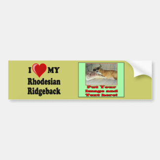 I Love (Heart) My Rhodesian Ridgeback Dog Bumper Sticker