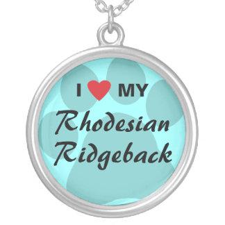 I Love (Heart) My Rhodesian Ridgeback Pawprint Round Pendant Necklace