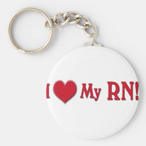I LOVE (Heart) My RN (REGISTERED NURSE) Keychain