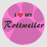 I Love (Heart) My Rottweiler Pawprint Classic Round Sticker