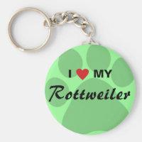 I Love (Heart) My Rottweiler Pawprint Keychain