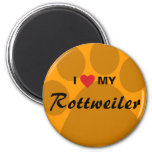 I Love (Heart) My Rottweiler Pawprint Magnet