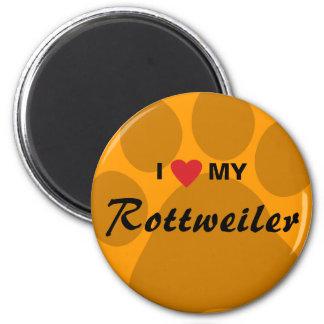 I Love (Heart) My Rottweiler Pawprint Magnet