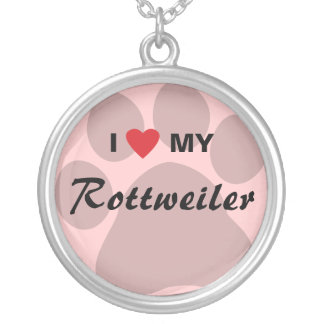I Love (Heart) My Rottweiler Pawprint Custom Jewelry