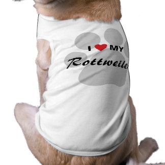 I Love (Heart) My Rottweiler Pawprint Tee