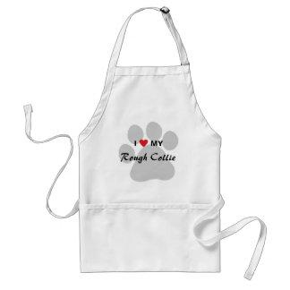 I Love (Heart) My Rough Collie Pawprint Apron