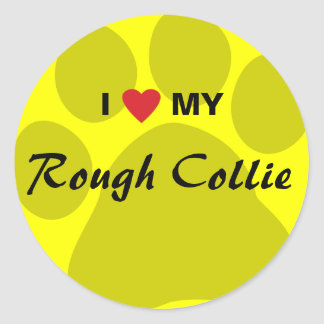 I Love (Heart) My Rough Collie Pawprint Classic Round Sticker