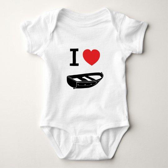 I love heart my rowing / row boat baby bodysuit