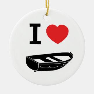 I love heart my rowing / row boat ceramic ornament
