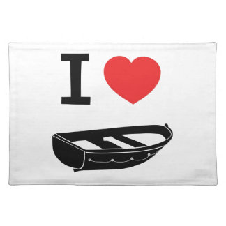 I love heart my rowing / row boat cloth placemat