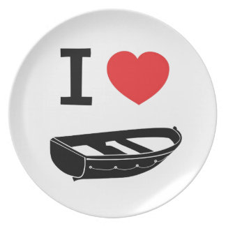 I love heart my rowing / row boat dinner plate