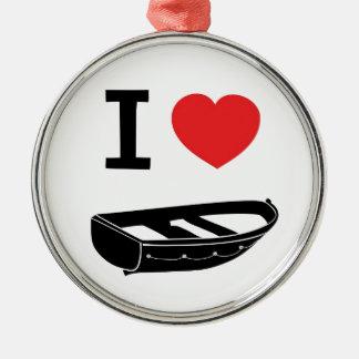 I love heart my rowing / row boat metal ornament