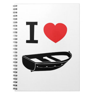 I love heart my rowing / row boat note book