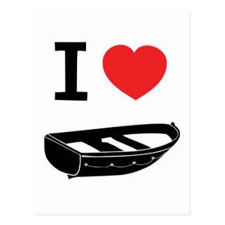 I love heart my rowing / row boat postcard