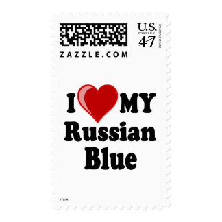 I Love (Heart) My Russian Blue Cat Postage