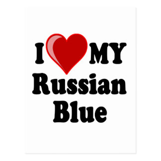 I Love (Heart) My Russian Blue Cat Postcard