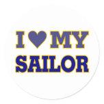 I Love (Heart) My Sailor Classic Round Sticker