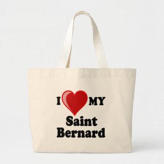 I Love (Heart) My Saint Bernard Dog Canvas Bag