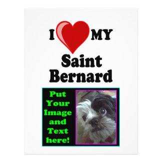 I Love (Heart) My Saint Bernard Dog Custom Flyer