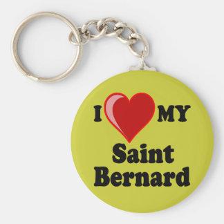 I Love (Heart) My Saint Bernard Dog Keychains