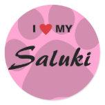I Love (Heart) My Saluki Paw Print Classic Round Sticker