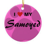 I Love (Heart) My Samoyed Pawprint Ceramic Ornament
