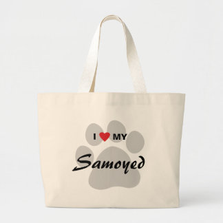 I Love (Heart) My Samoyed Pawprint Large Tote Bag