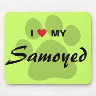 I Love (Heart) My Samoyed Pawprint Mouse Pad