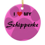 I Love (Heart) My Schipperke Pawprint Ceramic Ornament