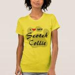 I Love (Heart) My Scotch Collie Pawprint T-Shirt