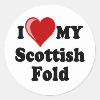I Love (Heart) My Scottish Fold Cat Classic Round Sticker