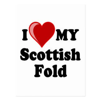 I Love (Heart) My Scottish Fold Cat Postcard
