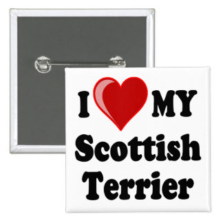 I Love (Heart) My Scottish Terrier Dog Gifts Pinback Button